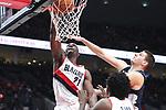 Portland Trail Blazers forward Noah Vonleh (21) reacts after dunking over Denver Nuggets in the second half at Moda Center. <br /> Photo by Jaime Valdez