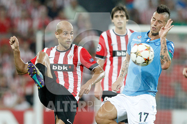 Athletic de Bilbao's Mikel Rico (l) and SSC Napoli's Marek Hamsik during Champions League 2014/2015 Play-off 2nd leg match.August 27,2014. (ALTERPHOTOS/Acero)