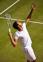 London, England, 3 July, 2016, Tennis, Wimbledon, Jo-Wilfried Tsonga (FRA) serves in his match against John Isner (USA)<br /> Photo: Henk Koster/tennisimages.com