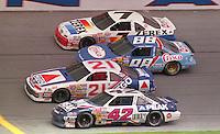 Kyle Petty, Neil Bonnett, Jimmy Spencer, Alan Kulwicki 4-wide racing trioval Daytona 500, Daytona International Spedway, Daytona Beach, FL on February 19, 1989. (Photo by Brian Cleary/www.bcpix.com)