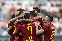 Football, Serie A: AS Roma - Sassuolo, Olympic stadium, Rome, September 15, 2019. <br /> Roma's Edin Dzeko celebrates after scoring with his teammates during the Italian Serie A football match between Roma and Sassuolo at Olympic stadium in Rome, on September 15, 2019.<br /> UPDATE IMAGES PRESS/Isabella Bonotto