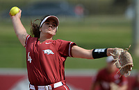 Arkansas pitcher Mary Haff delivers a pitch Saturday, Oct. 9, 2021, during play against Butler Community College at Bogle Park in Fayetteville. Visit nwaonline.com/211010Daily/ for today's photo gallery.<br /> (NWA Democrat-Gazette/Andy Shupe)