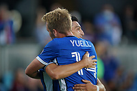 SAN JOSE, CA - AUGUST 17: Cristian Espinoza #10 and Jackson Yueill #14 of the San Jose Earthquakes celebrates a goal during a game between Minnesota United FC and San Jose Earthquakes at PayPal Park on August 17, 2021 in San Jose, California.