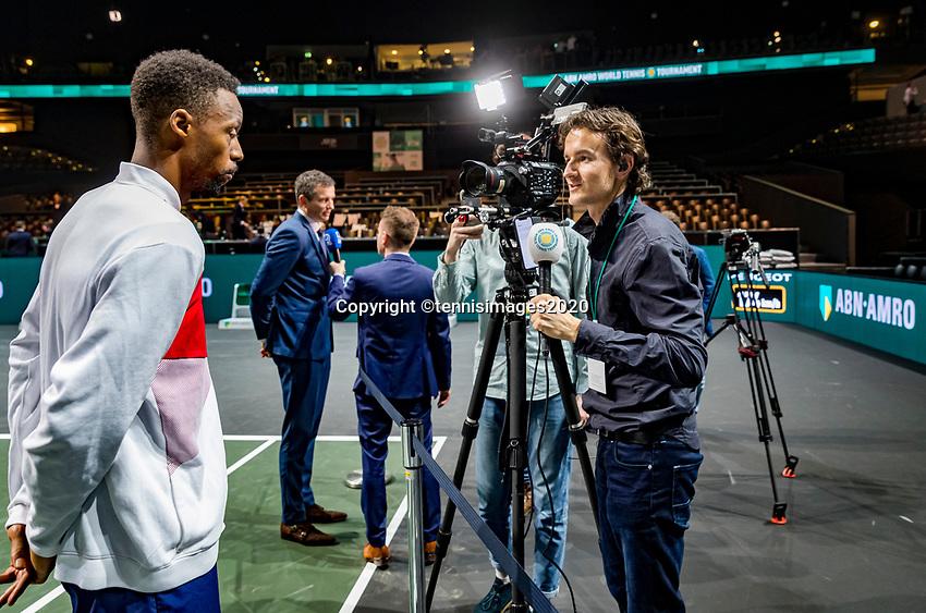 Rotterdam, The Netherlands, 16 Februari 2020, ABNAMRO World Tennis Tournament, Ahoy, Tournament winner Gaël Monfils (FRA) talks to TV and radio reporters<br /> Photo: www.tennisimages.com