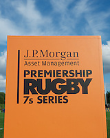 20130803 Copyright onEdition 2013 ©<br />Free for editorial use image, please credit: onEdition.<br /><br />J.P. Morgan Asset Management branding during the J.P. Morgan Asset Management Premiership Rugby 7s Series.<br /> The J.P. Morgan Asset Management Premiership Rugby 7s Series kicks off for the fourth season on Thursday 1st August with Pool A at Kingsholm, Gloucester with Pool B being played at Franklin's Gardens, Northampton on Friday 2nd August, Pool C at Allianz Park, Saracens home ground, on Saturday 3rd August and the Final being played at The Recreation Ground, Bath on Friday 9th August. The innovative tournament, which involves all 12 Premiership Rugby clubs, offers a fantastic platform for some of the country's finest young athletes to be exposed to the excitement, pressures and skills required to compete at an elite level.<br /><br />The 12 Premiership Rugby clubs are divided into three groups for the tournament, with the winner and runner up of each regional event going through to the Final. There are six games each evening, with each match consisting of two 7 minute halves with a 2 minute break at half time.<br /><br />For additional images please go to: http://www.w-w-i.com/jp_morgan_premiership_sevens/<br /><br />For press contacts contact: Beth Begg at brandRapport on D: +44 (0)20 7932 5813 M: +44 (0)7900 88231 E: BBegg@brand-rapport.com<br /><br />If you require a higher resolution image or you have any other onEdition photographic enquiries, please contact onEdition on 0845 900 2 900 or email info@onEdition.com<br />This image is copyright the onEdition 2013©.<br /><br />This image has been supplied by onEdition and must be credited onEdition. The author is asserting his full Moral rights in relation to the publication of this image. Rights for onward transmission of any image or file is not granted or implied. Changing or deleting Copyright information is illegal as specified in the Copyright, Design and Patents Act 1988. If you are in any way u