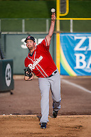 Tacoma Rainiers starting pitcher James Paxton (34) warms up before the game against the Salt Lake Bees in Pacific Coast League action at Smith's Ballpark on September 2, 2015 in Salt Lake City, Utah. Tacoma defeated Salt Lake 13-6. (Stephen Smith/Four Seam Images)