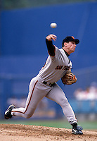 Orel Hershiser of the San Francisco Giants participates in a Major League Baseball game at Dodger Stadium during the 1998 season in Los Angeles, California. (Larry Goren/Four Seam Images)