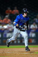 Max Miller (5) of the Duke Blue Devils hustles down the first base line against the Clemson Tigers in Game Three of the 2017 ACC Baseball Championship at Louisville Slugger Field on May 23, 2017 in Louisville, Kentucky. The Blue Devils defeated the Tigers 6-3. (Brian Westerholt/Four Seam Images)