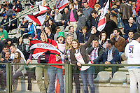 20121020 Copyright onEdition 2012©.Free for editorial use image, please credit: onEdition..Saracens fans cheer on the home team during the Heineken Cup Round 2 match between Saracens and Racing Metro 92 at the King Baudouin Stadium, Brussels on Saturday 20th October 2012 (Photo by Rob Munro)..For press contacts contact: Sam Feasey at brandRapport on M: +44 (0)7717 757114 E: SFeasey@brand-rapport.com..If you require a higher resolution image or you have any other onEdition photographic enquiries, please contact onEdition on 0845 900 2 900 or email info@onEdition.com.This image is copyright the onEdition 2012©..This image has been supplied by onEdition and must be credited onEdition. The author is asserting his full Moral rights in relation to the publication of this image. Rights for onward transmission of any image or file is not granted or implied. Changing or deleting Copyright information is illegal as specified in the Copyright, Design and Patents Act 1988. If you are in any way unsure of your right to publish this image please contact onEdition on 0845 900 2 900 or email info@onEdition.com