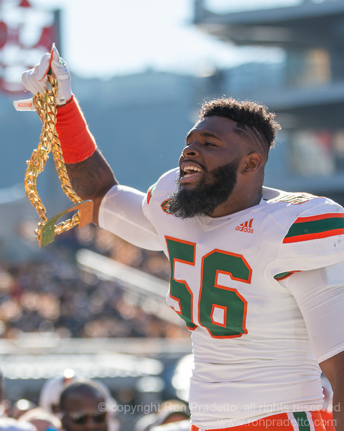 "Miami Hurricanes linebacker Michael Pinckney displays the Miami ""Turnover chain."""" The Pitt Panthers upset the undefeated Miami Hurricanes 24-14 on November 24, 2017 at Heinz Field, Pittsburgh, Pennsylvania."
