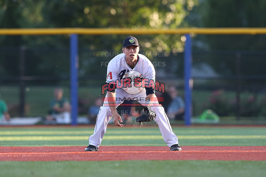 Trevor Mitsui (41) of the Hillsboro Hops in the field at first base during a game against the Salem-Keizer Volcanoes at Ron Tonkin Field on July 27, 2015 in Hillsboro, Oregon. Hillsboro defeated Salem-Keizer, 9-2. (Larry Goren/Four Seam Images)