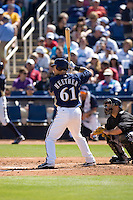 March 13, 2010: Milwaukee Brewers' Adam Heether (#61) at-bat during a spring training game against the Colorado Rockies at Maryvale Baseball Park in Maryvale, Arizona.