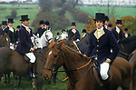 Duke of Beaufort Hunt Badminton  Gloucestershire. Group of men wearing traditional Blue and Buff top coats and black top hats. 1980s