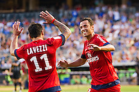 Nene? (10) of Paris Saint-Germain celebrates scoring with Ezequiel Lavezzi (11). Chelsea FC and Paris Saint-Germain played to a 1-1 tie during a 2012 Herbalife World Football Challenge match at Yankee Stadium in New York, NY, on July 22, 2012.