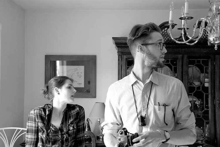 Assistant Producer Dani Maczynski with director William J. Stribling on set location Lies I Told My Little Sister feature film, B&W