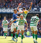 01.09.2019 Rangers v Celtic: Nikola Katic with Nir Bitton, Scott Brown and Hatem El Hamed