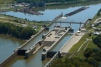 aerial photograph McAlpine Locks and Dam, Ohio River at Louisville, Kentucky