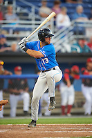 Hudson Valley Renegades catcher Daniel De La Calle (13) at bat during a game against the Batavia Muckdogs on August 2, 2016 at Dwyer Stadium in Batavia, New York.  Batavia defeated Hudson Valley 2-1.  (Mike Janes/Four Seam Images)