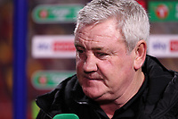 22nd December 2020; Brentford Community Stadium, London, England; English Football League Cup Football, Carabao Cup, Brentford FC versus Newcastle United; A disappointed Newcastle United Manager Steve Bruce being interviewed after the match