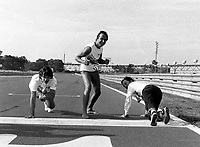 September 1983  File Photo -  Jean-Guy Moreau, Claude Dupuis and Jean-Pierre  Ferland on the site of the Montreal marathon -