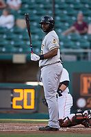 Salt Lake Bees first baseman Chris Carter (33) at bat during a Pacific Coast League game against the Fresno Grizzlies at Chukchansi Park on May 14, 2018 in Fresno, California. Fresno defeated Salt Lake 4-3. (Zachary Lucy/Four Seam Images)