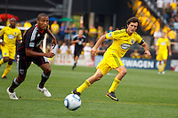 26 JUNE 2010:  Jordan Graye #16 of DC United  and Guillermo Barros Schelotto of the Columbus Crew (7) during MLS soccer game between DC United vs Columbus Crew at Crew Stadium in Columbus, Ohio on May 29, 2010. The Crew defeated DC United 2-0.