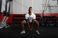 Sean Davis #28 of the Pittsburgh Steelers poses for portraits at RAW Training in Gibsonia, Pennsylvania on January 9, 2018. (Photo by Jared Wickerham/Wick Photography)