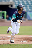 Second baseman Yordys Valdes (7) of the Lynchburg Hillcats in a game against the Delmarva Shorebirds on Wednesday, August 11, 2021, at Bank of the James Stadium in Lynchburg, Virginia. (Tom Priddy/Four Seam Images)