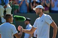 England, London, Juli 04, 2015, Tennis, Wimbledon, Ivo Karlovic (CRO) (R) is congratulated by Jo-Wilfried Tsonga (FRA)<br /> Photo: Tennisimages/Henk Koster