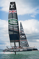 Land Rover BAR in full flight during the America's Cup off Portsmouth, England on Saturday 25 July 2015 (Photo by Rob Munro/Stewart Communications)