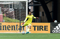 FOXBOROUGH, UNITED STATES - MAY 28: Earl Edwards Jr. #90 of New England Revolution II passes the ball during a game between Fort Lauderdale CF and New England Revolution II at Gillette Stadium on May 28, 2021 in Foxborough, Massachusetts.