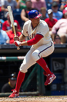 Philadelphia Phillies outfielder Hunter Pence #3 at bat during the Major League Baseball game against the Pittsburgh Pirates on June 28, 2012 at Citizens Bank Park in Philadelphia, Pennsylvania. The Pirates defeated the Phillies 5-4. (Andrew Woolley/Four Seam Images).