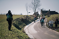 breakaway group diverted from a dangerous ice patch on the road<br /> <br /> 70th Kuurne-Brussel-Kuurne 2018<br /> Kuurne › Kuurne: 200km (BELGIUM)