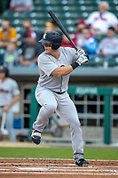 Logan Morrison (5) of the Scranton/Wilkes-Barre RailRiders at bat at Victory Field on May 14, 2019 in Indianapolis, Indiana. The Indians defeated the RailRiders 4-2. (Andrew Woolley/Four Seam Images)