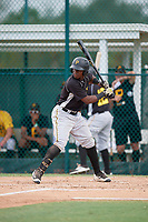 Pittsburgh Pirates Rodolfo Castro (6) at bat during an Instructional League intrasquad black and gold game on October 13, 2017 at Pirate City in Bradenton, Florida.  (Mike Janes/Four Seam Images)