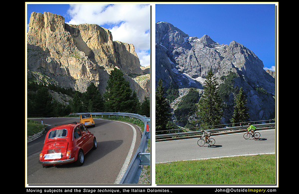 Italy, Dolomites. Italian Icons. <br /> Fiats and cyclists cruising the Dolomite Road, northern Italy. A stunning background, that's enhanced by a moving foreground.