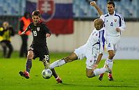 Robbie Rogers battles for the ball. Slovakia defeated the US Men's National Team 1-0 at the Tehelne Pole in Bratislava, Slovakia on November 14th, 2009.