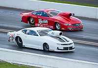 Aug 9, 2020; Clermont, Indiana, USA; NHRA mountain motor pro stock driver J.R. Carr (near) alongside Mike Bell during the Indy Nationals at Lucas Oil Raceway. Mandatory Credit: Mark J. Rebilas-USA TODAY Sports