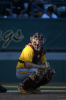 Brian Serven (24) of the Arizona State Sun Devils looks to the dugout during a game against the Long Beach State Dirtbags at Blair Field on February 27, 2016 in Long Beach, California. Long Beach State defeated Arizona State, 5-2. (Larry Goren/Four Seam Images)