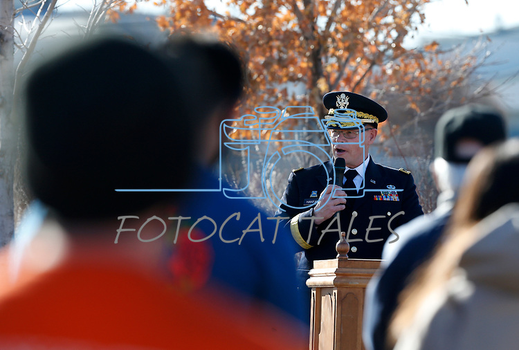 Nevada National Guard Brigadier General Michael Hanifan speaks at the National Wreaths Across America Day, before volunteers place wreaths on the graves of veterans at the Lone Mountain Cemetery, in Carson City, Nev., on Saturday, Dec. 19, 2020. The program honors veterans at more than 2100 cemeteries around the world. <br /> Photo by Cathleen Allison/Nevada Momentum Fueled by RAD