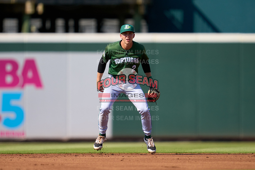 Daytona Tortugas shortstop Gus Steiger (2) during a game against the Bradenton Marauders on June 9, 2021 at LECOM Park in Bradenton, Florida.  (Mike Janes/Four Seam Images)