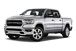 Stock pictures of low aggressive front three quarter view of 2021 Ram 1500 Big-Horn 4 Door Pick-up Low Aggressive