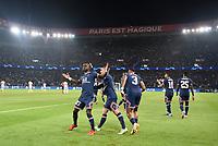 28th September 2021, Parc des Princes, Paris, France: Champions league football, Paris-Saint-Germain versus Manchester City:  Kylian Mbappe ( 7 - PSG ) and Lionel Leo Messi ( 30 - PSG ) celebrate their goal from Idrissa Gueye ( 27 - PSG )