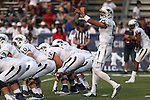 Nevada quarterback Tyler Stewart calls a play against Arizona in an NCAA college football game in Reno, Nev., on Saturday, Sept. 12, 2015.(AP Photo/Cathleen Allison)