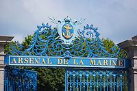 "France, Manche (50), Cotentin, Cherbourg: La porte du midi – Ancienne porte de l'arsenal de la marine// France, Manche, Cotentin, Cherbourg, Cherbourg Naval Base: Portal Arsenal , la porte du midi has been, until recent years, the main gateway to the ""Port militaire"" also called ""L'arsenal de la marine""."