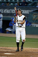 Alex Muzzi (31) of the Cal State Long Beach Dirtbags bats against the UC Santa Barbara Gauchos at Blair Field on April 1, 2016 in Long Beach, California. UC Santa Barbara defeated Cal State Long Beach, 4-3. (Larry Goren/Four Seam Images)