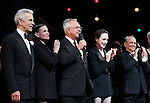 James Naughton, Ann Reinking. Walter Bobbie, Bebe Neuwirth and Joel Grey during the landmark performance of 'Chicago' as it becomes the 2nd longest show in Broadway History at the Ambassador Theatre on November 23, 2014 in New York City.