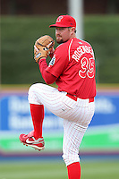 Reading Phillies pitcher B.J. Rosenberg #35 during practice before a game against the New Hampshire Fisher Cats at FirstEnergy Stadium on April 10, 2012 in Reading, Pennsylvania.  New Hampshire defeated Reading 3-2.  (Mike Janes/Four Seam Images)