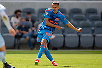 LOS ANGELES, CA - MAY 29: Jesús Medina #19 of NYCFC shoots on goal and scores during a game between New York City FC and Los Angeles FC at Banc of California Stadium on May 29, 2021 in Los Angeles, California.