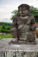 Yogyakarta, Java, Indonesia.  Plaosan Buddhist Temple Complex.  Dvarapala Statue, a Guardian Statue, a common architectural element found in Hindu and Buddhist culture.